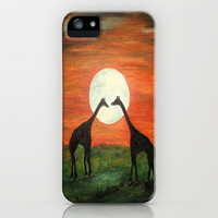 Full Moon Giraffe Love-Inspired by TaLins!!! iPhone Case by RokinRonda | Society6