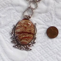 Picture Jasper Brown Pendant Rustic Necklace Hippie Boho Jewelry Silver Ball Chain Sundance Choker Gypsy Cowgirl Glam Bohemian Necklace