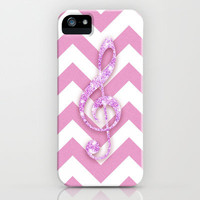 Glitter Musical Note pink chevron pattern Music iPhone Case by Girly Trend | Society6