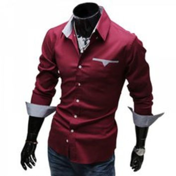 Stylish Turn Down Collar Long Sleeve Printed Spliced Button Design Men's Shirt
