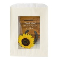 Sunflower Horseshoe Country Wedding Thank You Favor Bags