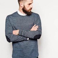 ASOS | ASOS Crew Neck Sweater with Elbow Patch in Cotton at ASOS
