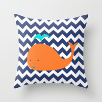 Nautical Baby Whale Orang + Blue Chevron Decorative Throw Pillow OR Pillow Cover