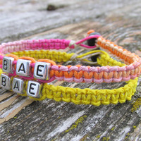 Bae Bracelets for Couples or Best Friends, Sherbet and Bright Yellow Handmade Macrame Hemp Jewelry, Before Anyone Else