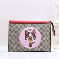 Gucci Women Fashion Leather Clutch Bag Wristlet Handbag