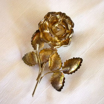 Silver Rose Brooch, Mexican Silver 925 Rose Pin Brooch