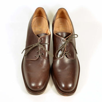 Vintage Brown Leather Lace Up Oxford Brogues Chunky Heel/Minimalist Secretary Boyfriend Style Oxford SZ 9 - 9.5