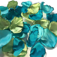 Mixture of aqua blue teal, turquoise and apple green flower petals