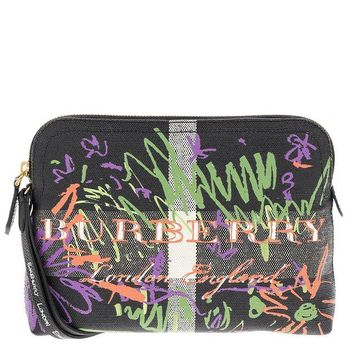 DCCKNY1 Burberry Women's Doodle Cosmetic Pouch Black