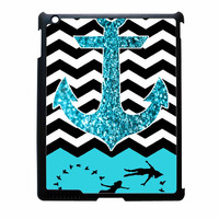Peter Pan Mint Glitter Anchor Black Chevron iPad 3 Case
