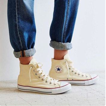 LMFUG7 Converse' Fashion Canvas Flats Sneakers Sport Shoes high-tops Beige