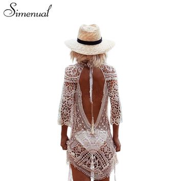 Simenual Backless cut out summer lace beach dresses ladies  casual  hollow out sexy  women dress white pareos swimwear