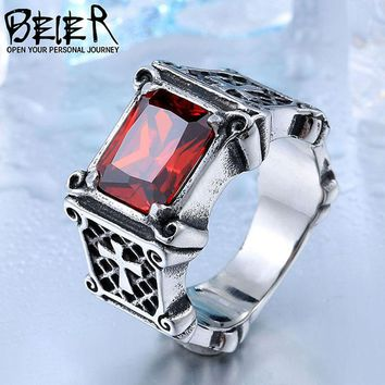 Dropshipping One Piece Vintage Friar Men's Double Cross With Black/Red/Blue Three Colors Stone Fashion Ring BR8-061 US Size