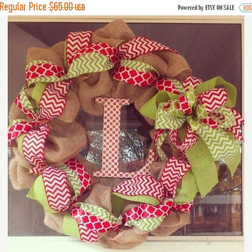 BLACK FRIDAY SALE Red and green chevron quatrefoil burlap wreath, Christmas burlap wreath, quatrefoil wreath, Holiday wreath, holiday decor,