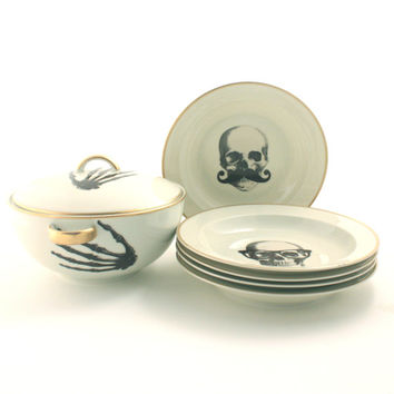 Soup Serving Set Tureen 5 Plates Altered  Porcelain Skeleton Hands Halloween Vintage Bowl Lid Porcelain Skull