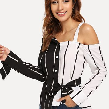 Striped Asymmetrical Neck Belted Colorblock Blouse