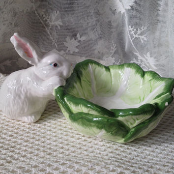 Dept 56 Cabbage Leaf Candy Dish, Lil White Bunny, Retired Pattern Vintage Easter Decor