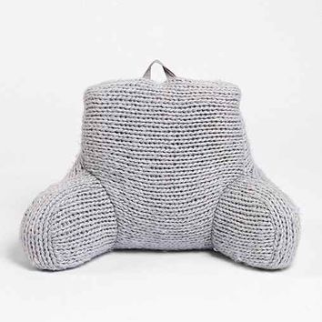 Plum & Bow Cable Knit Boo Pillow- Grey One
