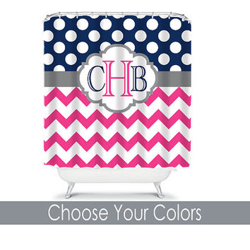 SHOWER CURTAIN Custom MONOGRAM Personalized Bathroom Decor Chevron Polka Dot Navy Hot Pink Colors Beach Towel Plush Bath Mat Made in Usa