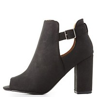 QUPID PEEP TOE CUT-OUT BOOTIES