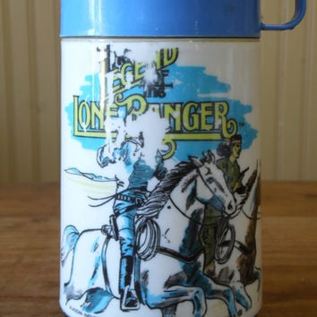 FREE SHIPPING - 1980's The Legend of the Lone Ranger Thermos/Vintage Thermos/80's Thermos/Vintage Lunch Box/Aladdin Thermos/Kid's Thermos