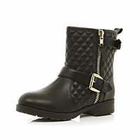 BLACK QUILTED BIKER BOOTS