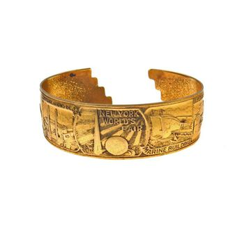 1939 New York World's Fair Cuff Bracelet Souvenir, Vintage, 1930s to 1980s
