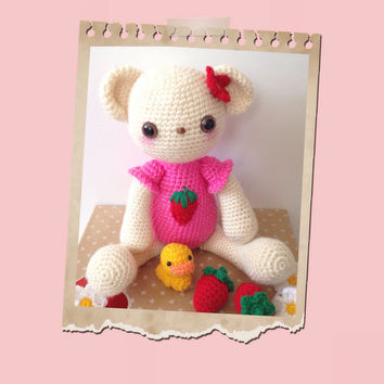 Amigurumi Bear Teddy Bear Crochet Bear Amigurumi Ducky Duck Doll Strawberry Kawaii Stuffed Animal Stuffed Toy Bear Valentine's Day Gift Idea