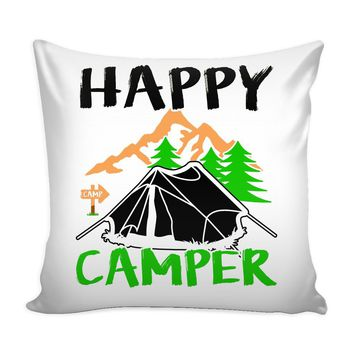 Camping Graphic Pillow Cover Happy Camper
