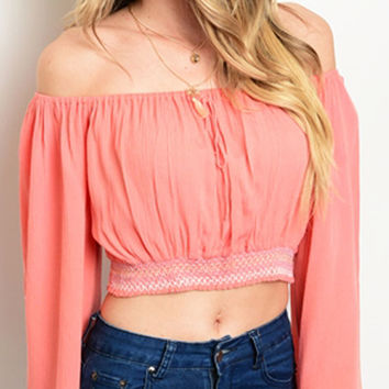Long Sleeves Off The Shoulder Coral Top