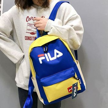 FILA 2019 new street fashion men and women models color versatile canvas casual backpack #3