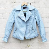 Leather Look Double Breasted Biker Jacket in Baby Blue