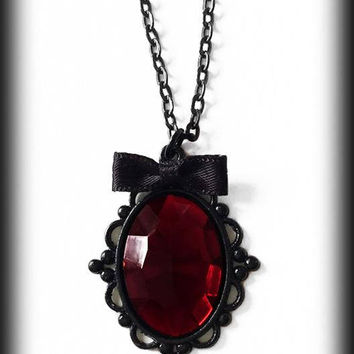 Gothic Victorian Necklace, Ruby Red Cabochon Necklace, Gothic Jewelry, Gothic Pendant, Alternative Jewelry, Handmade Jewellery, Gothic Gift