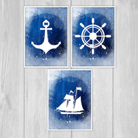 Watercolor Nautical Decor Set Navy Vintage rustic Helm Anchor ship wheel Boat Art Print Beach House Bathroom Art Antique Ocean Coastal decor