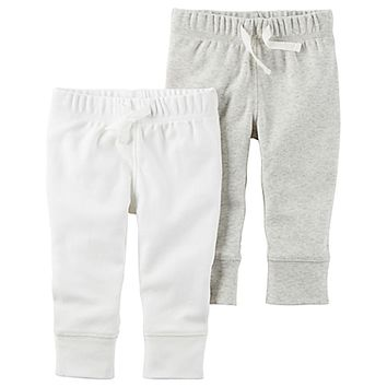 carter's® 2-Pack Babysoft Pant in Ivory/Grey