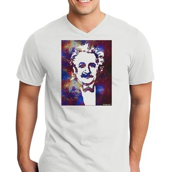 Cosmic Galaxy Einstein Adult V-Neck T-shirt by TooLoud