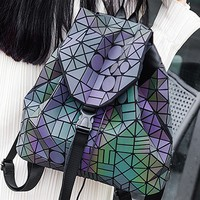 Purple  Hologram Geometric PU Backpack