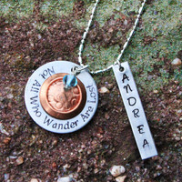 """Personalized Quote Necklace - """"Not All Who Wander Are Lost"""" Quote Necklace - Custom Quote Necklace"""