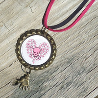 Pink Skull and Crossbones Heart, Bottle Cap Charm Necklace