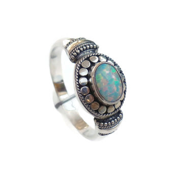 Sterling Silver White Opal Bali Style Ring