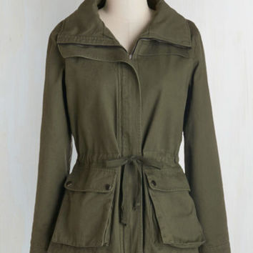 Safari Mid-length Long Sleeve Escape into Nature Jacket in Moss