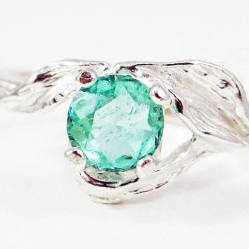 Natural Colombian Emerald Leaf Ring Sterling Silver, May Birthstone Ring, Natural Emerald Ring, Colombian Emerald Ring, Emerald Leaf Ring