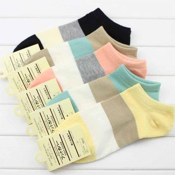 LNRRABC Fashion 5 Pair/set Trendy Women Ladies Girl Autumn Standard Cotton Leisure Wide Striped Boat Socks Wholesale