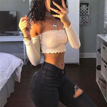 LMFUX5 Fashion Strapless Long Sleeve Backless Cami Crop Shirt Top Tee