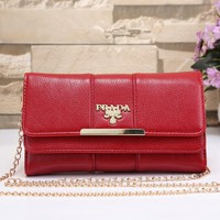 """Prada"" Women Wallet Simple Fashion Metal Chain Single Shoulder Messenger Bag Double Layer Flip Handbag"