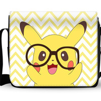 cute pkiachu pokemon Bag features a changeable flap cover, main zipped compartment with two internal pockets
