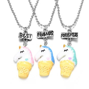 Cute 3 horse BEST FRIENDS FOREVER Bff Necklace Set for Children Lovely Girls Blue Pink Green Long Chain Pendant Collares Gift