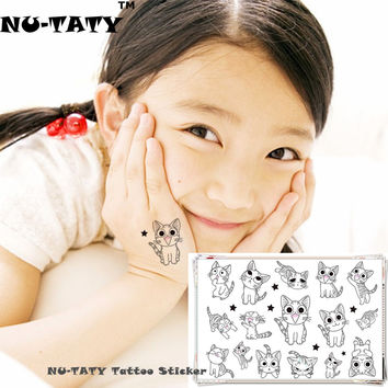NU-TATY White Kitty Cats Child Temporary Body Art Flash Tattoo Sticker 10*17cm Waterproof Henna Fake Tatto Tattoo Sticker