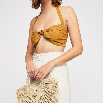"Straw Basket Tote Bag ""Luci"" Natural Woven Handbag Purse Tan Beige 17 x 13 Bohemian Beach Bag"