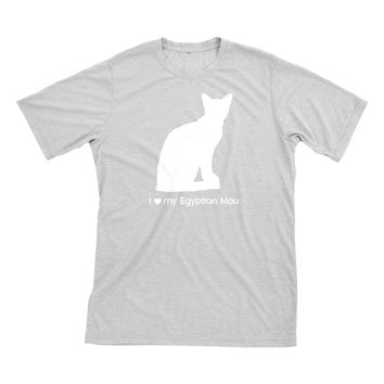 I Love My Egyptian Mau | Must Love Cats® White On Heathered Grey Short Sleeve T-Shirt